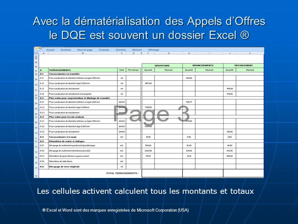 Avec la dématérialisation des Appels d'Offres le DQE est souvent un dossier Excel ®