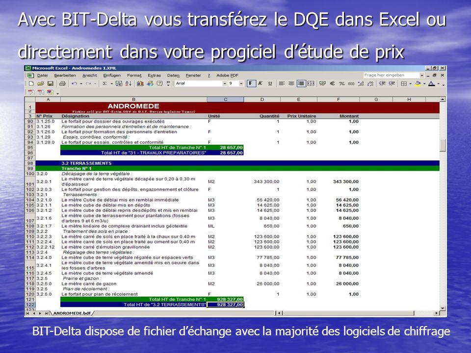 Avec BIT-Delta vous transférez le DQE dans Excel ou directement dans votre progiciel d'étude de prix