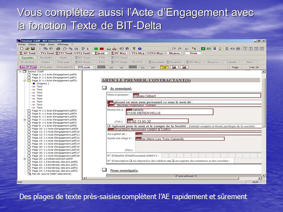 Vous complétez aussi l'Acte d'Engagement avec la fonction Texte de BIT-Delta