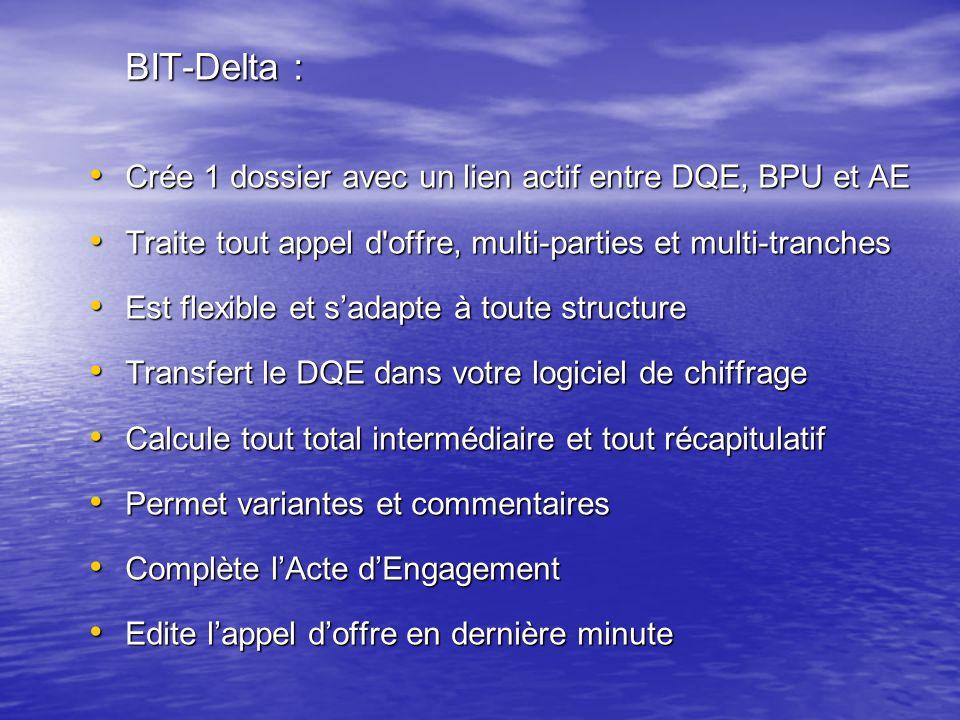 BIT-Delta : Crée 1 dossier avec un lien actif entre DQE, BPU et AE. Traite tout appel d offre, multi-parties et multi-tranches.
