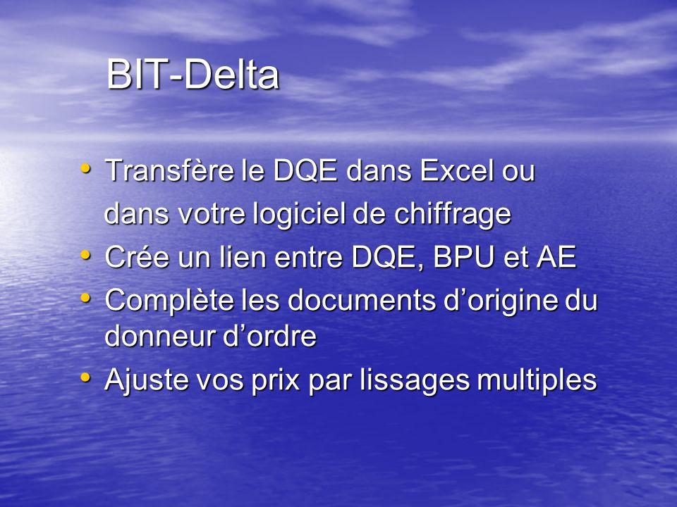 BIT-Delta Transfère le DQE dans Excel ou