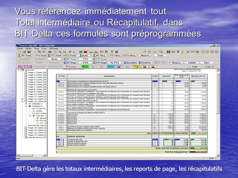Vous référencez immédiatement tout Total intermédiaire ou Récapitulatif, dans BIT-Delta ces formules sont préprogrammées