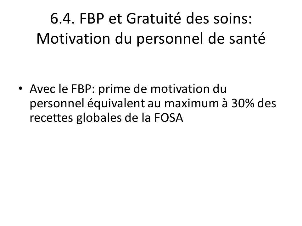 6.4. FBP et Gratuité des soins: Motivation du personnel de santé