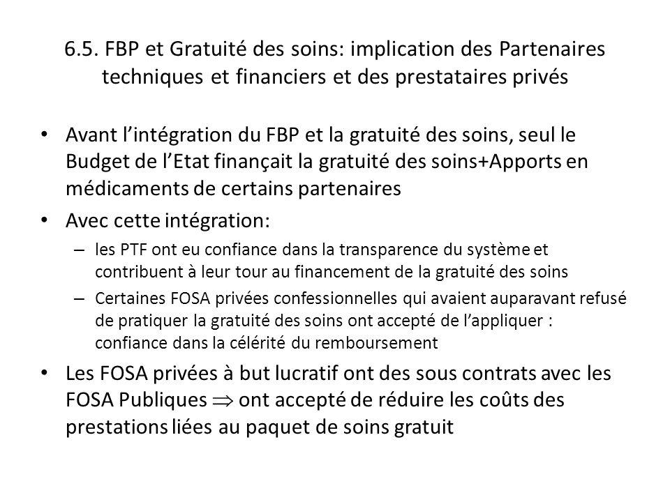 6.5. FBP et Gratuité des soins: implication des Partenaires techniques et financiers et des prestataires privés