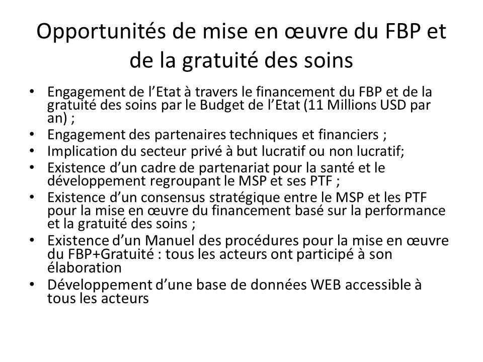 Opportunités de mise en œuvre du FBP et de la gratuité des soins
