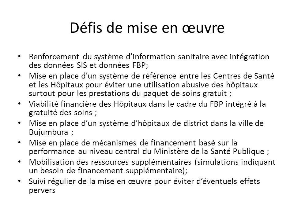 Défis de mise en œuvre Renforcement du système d'information sanitaire avec intégration des données SIS et données FBP;