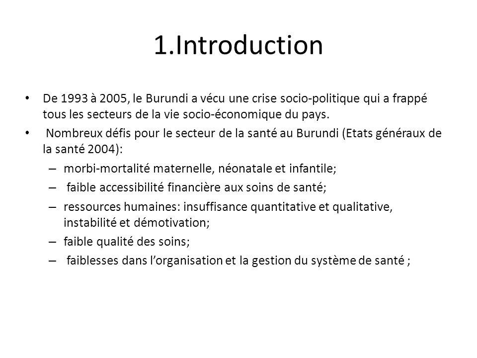 1.Introduction De 1993 à 2005, le Burundi a vécu une crise socio-politique qui a frappé tous les secteurs de la vie socio-économique du pays.