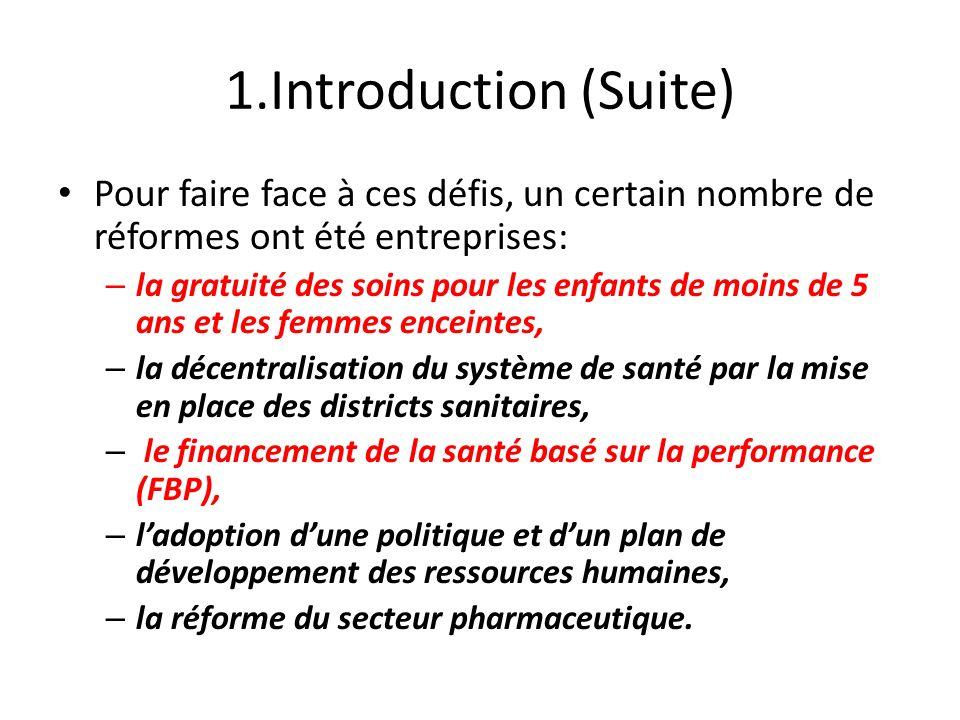 1.Introduction (Suite) Pour faire face à ces défis, un certain nombre de réformes ont été entreprises: