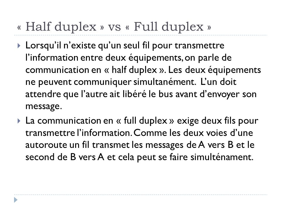 « Half duplex » vs « Full duplex »