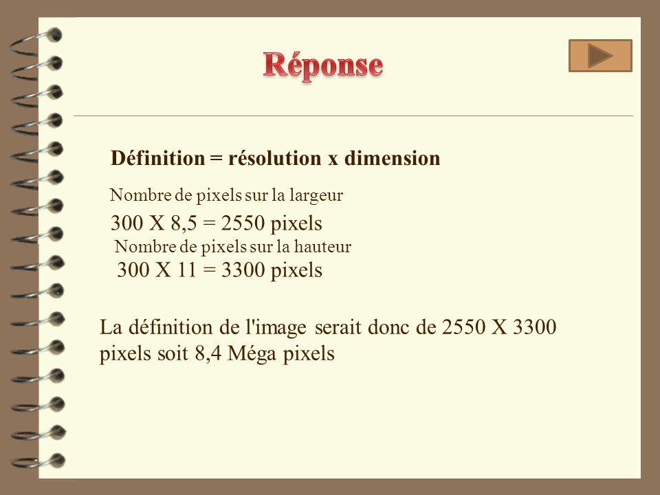 Réponse Définition = résolution x dimension 300 X 8,5 = 2550 pixels