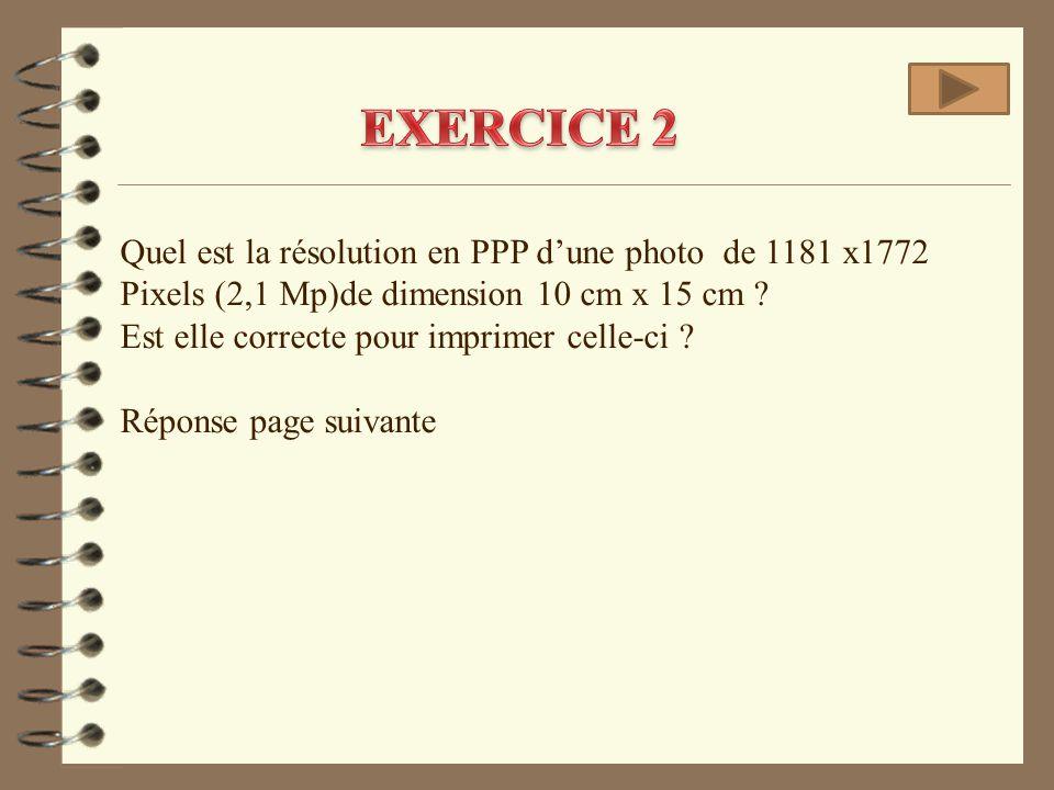 EXERCICE 2 Quel est la résolution en PPP d'une photo de 1181 x1772 Pixels (2,1 Mp)de dimension 10 cm x 15 cm