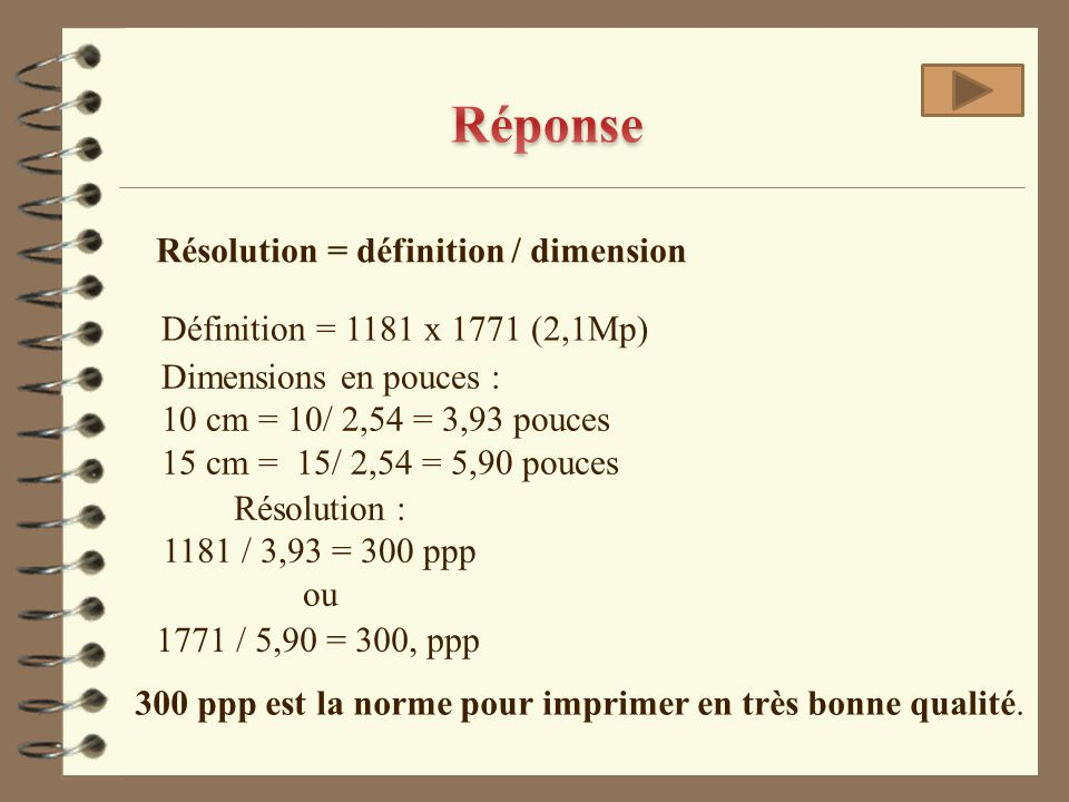 Réponse Résolution = définition / dimension