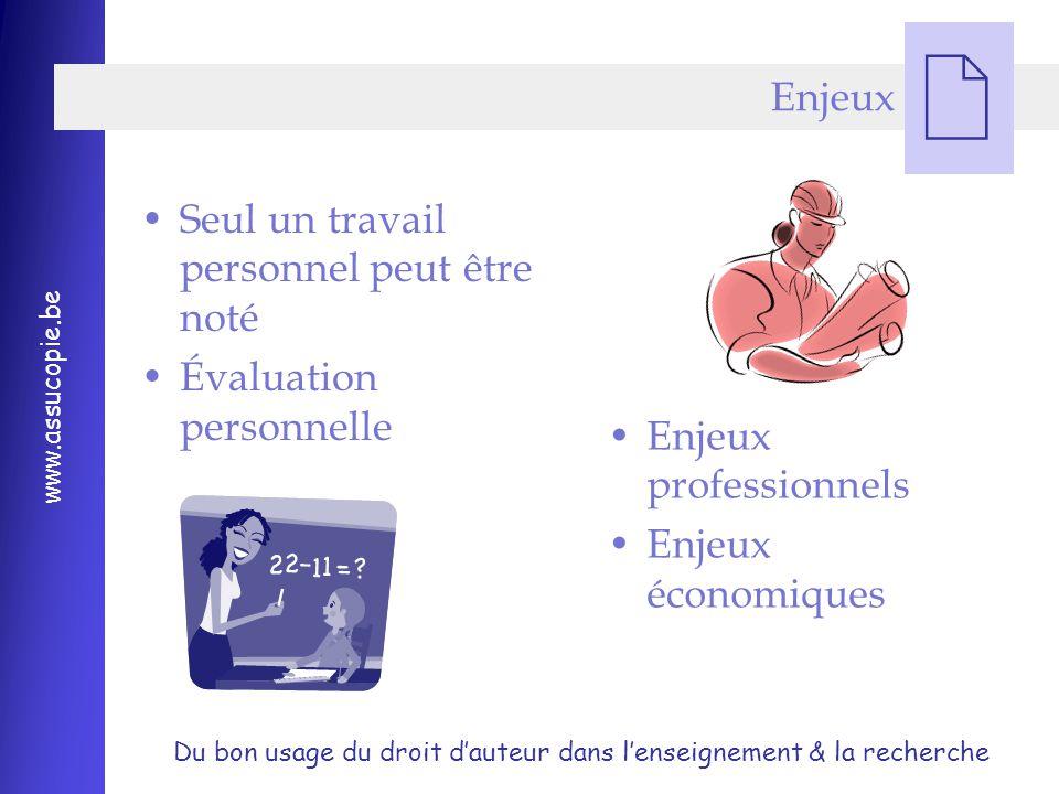 Enjeux Seul un travail personnel peut être noté. Évaluation personnelle.