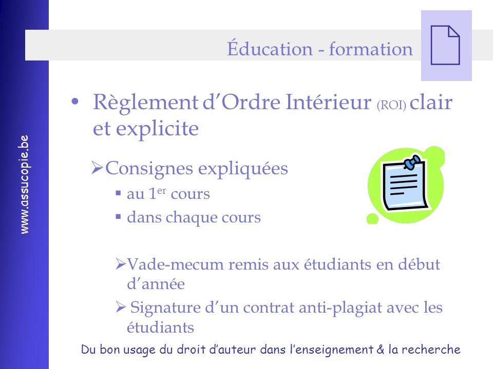 Règlement d'Ordre Intérieur (ROI) clair et explicite
