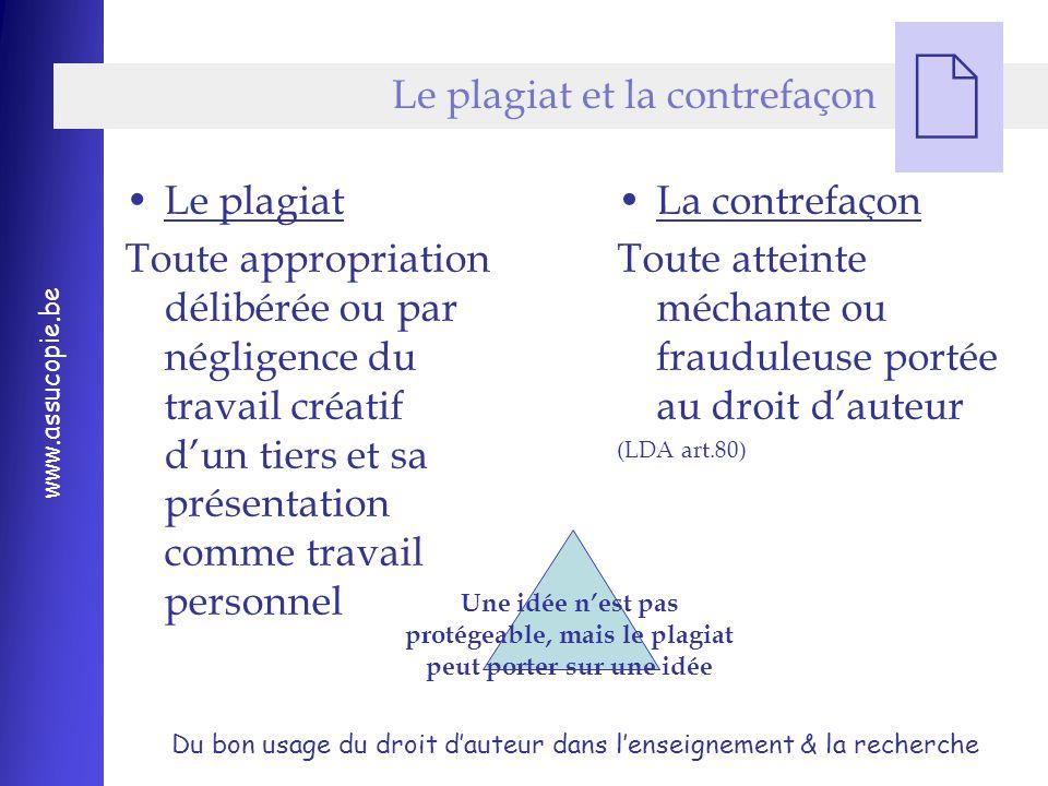 Le plagiat et la contrefaçon
