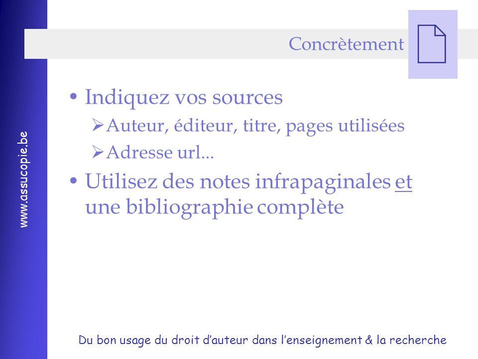 Utilisez des notes infrapaginales et une bibliographie complète