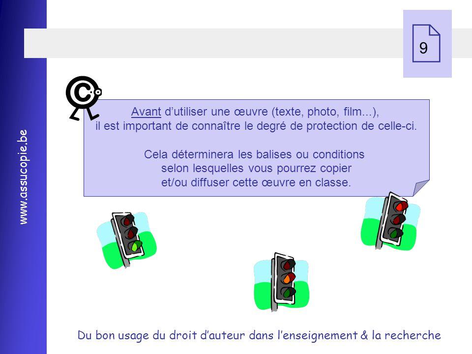 9 Avant d'utiliser une œuvre (texte, photo, film...), il est important de connaître le degré de protection de celle-ci.