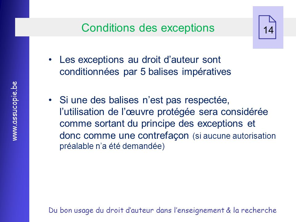 Conditions des exceptions