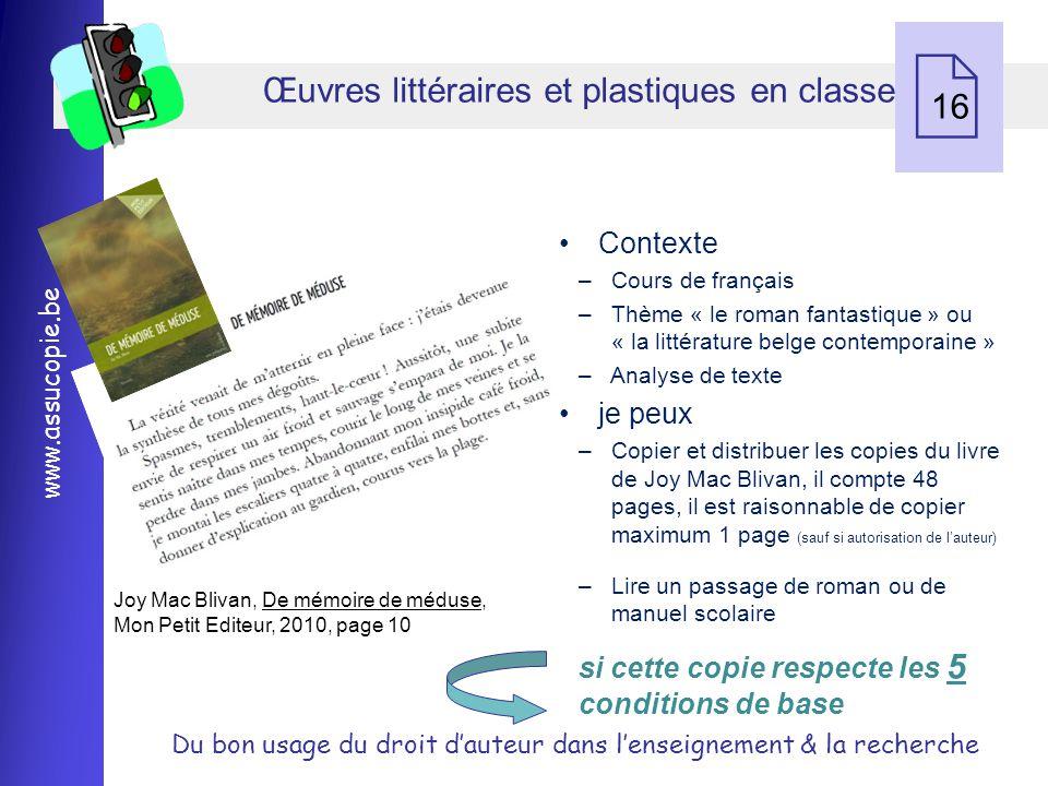 Œuvres littéraires et plastiques en classe 16