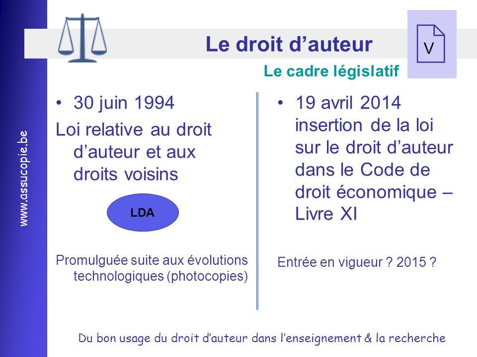 Le droit d'auteur V. Le cadre législatif. 30 juin 1994. Loi relative au droit d'auteur et aux droits voisins.