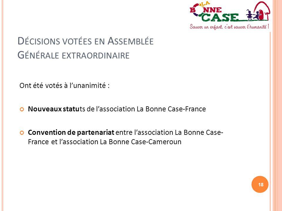 Décisions votées en Assemblée Générale extraordinaire