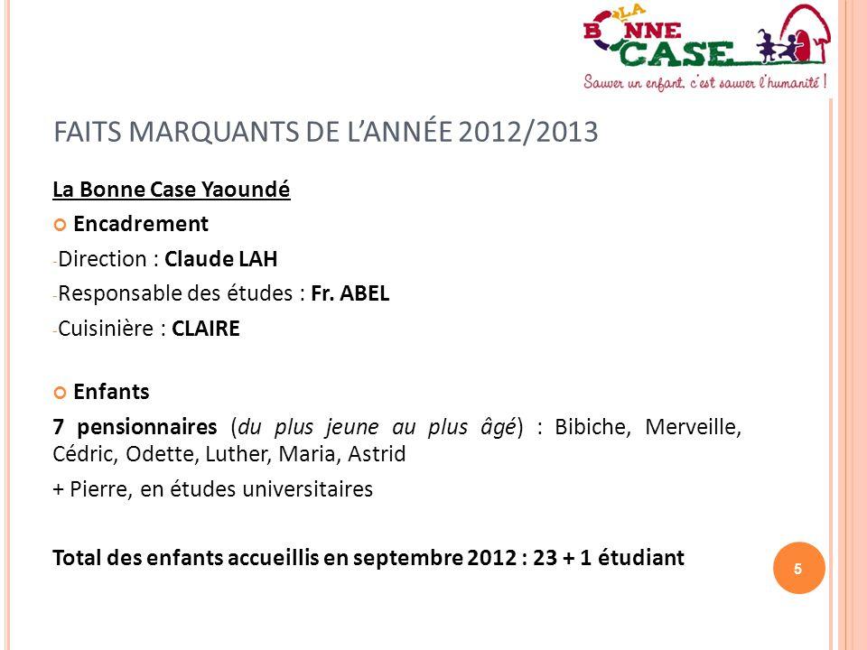 FAITS MARQUANTS DE L'ANNÉE 2012/2013
