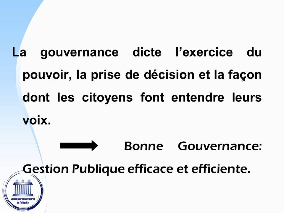La gouvernance dicte l'exercice du pouvoir, la prise de décision et la façon dont les citoyens font entendre leurs voix.