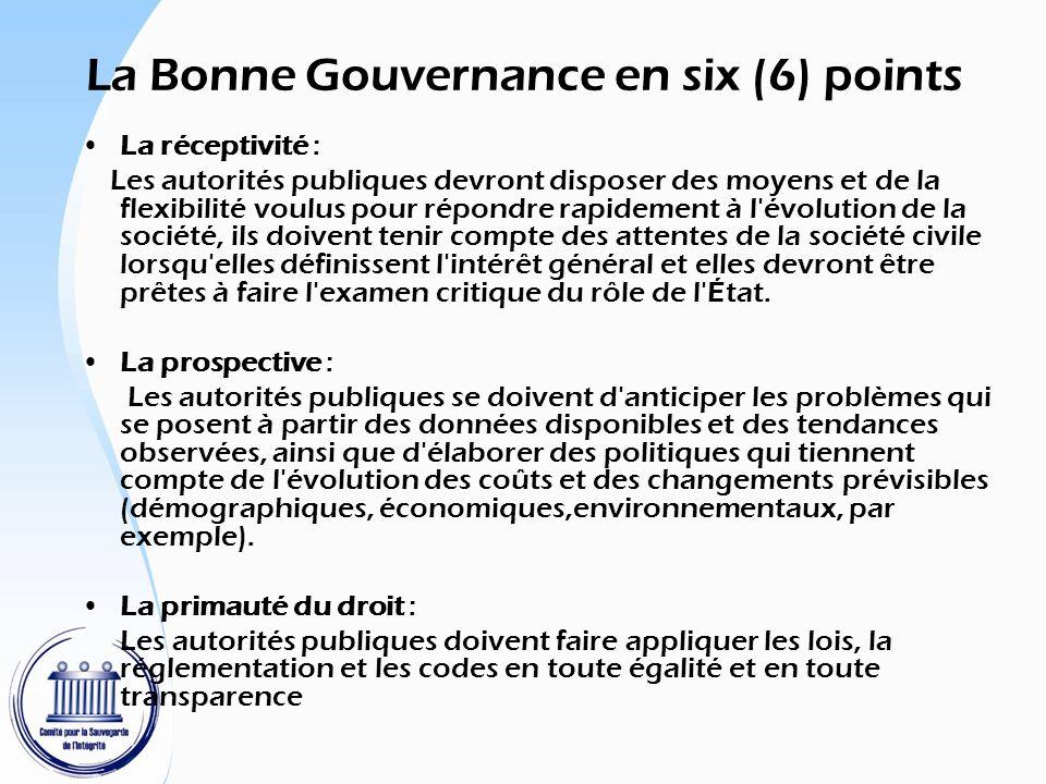 La Bonne Gouvernance en six (6) points