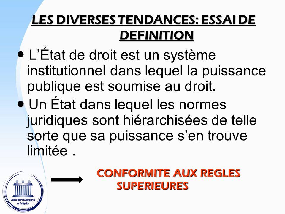 LES DIVERSES TENDANCES: ESSAI DE DEFINITION