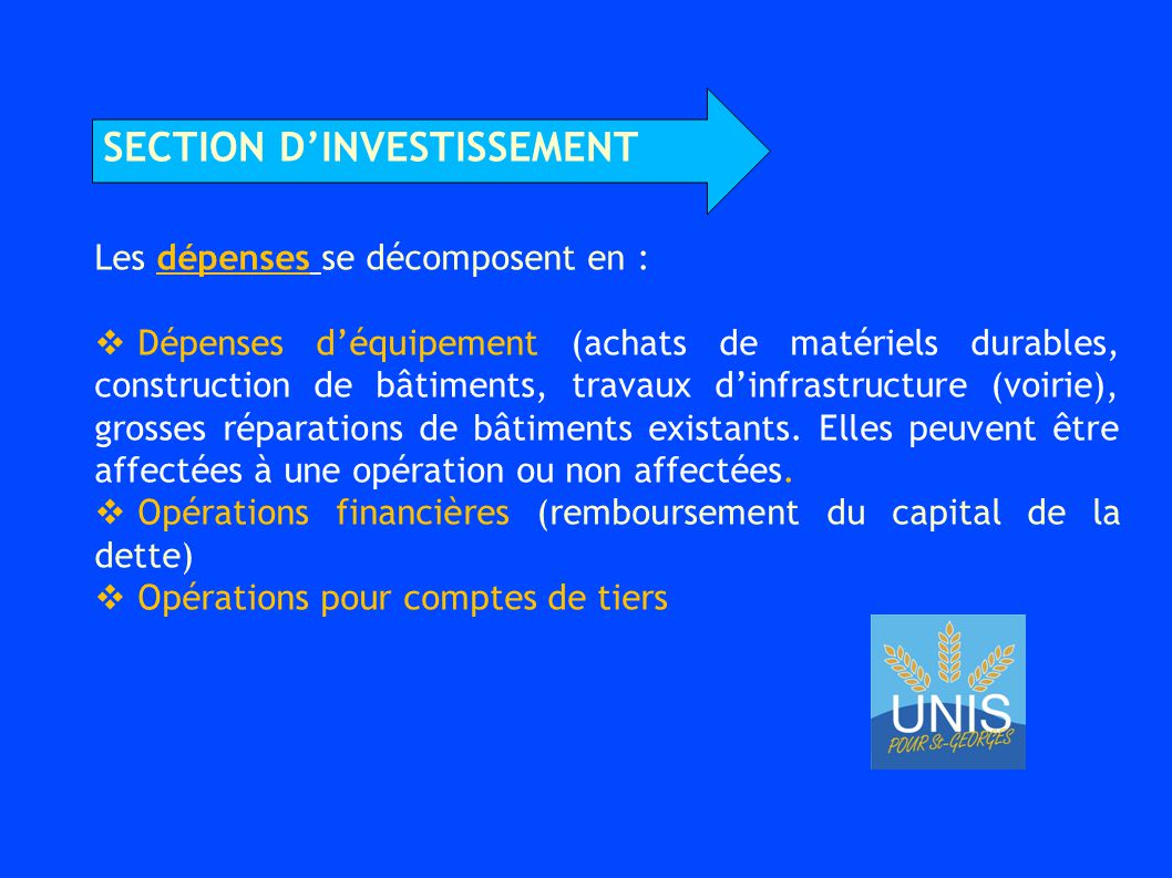 section d'investissement