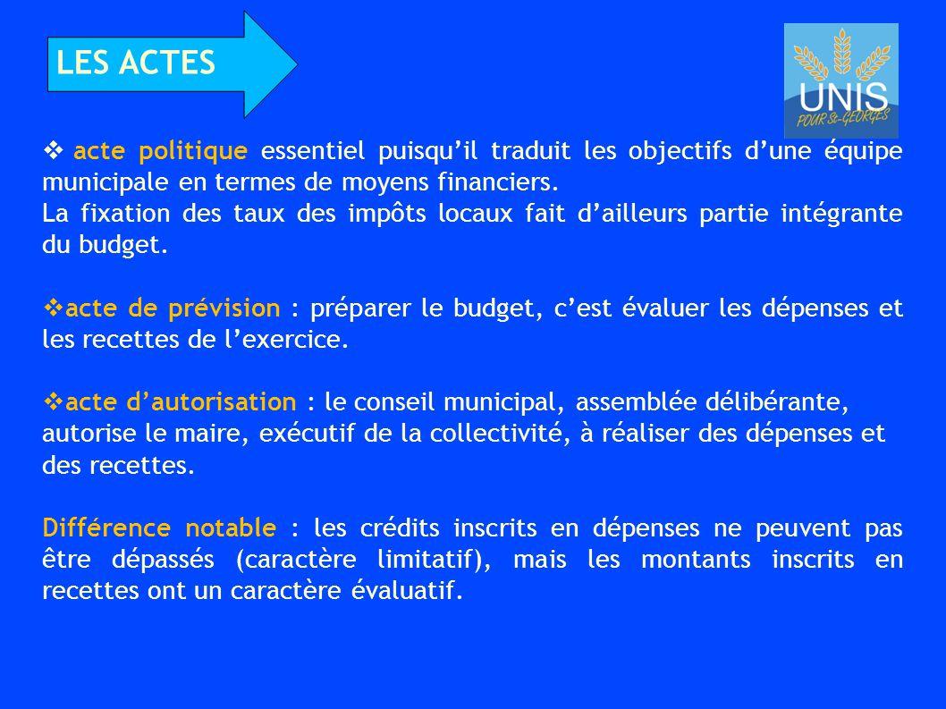 LES ACTES acte politique essentiel puisqu'il traduit les objectifs d'une équipe municipale en termes de moyens financiers.