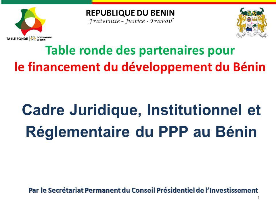 Cadre Juridique, Institutionnel et Réglementaire du PPP au Bénin
