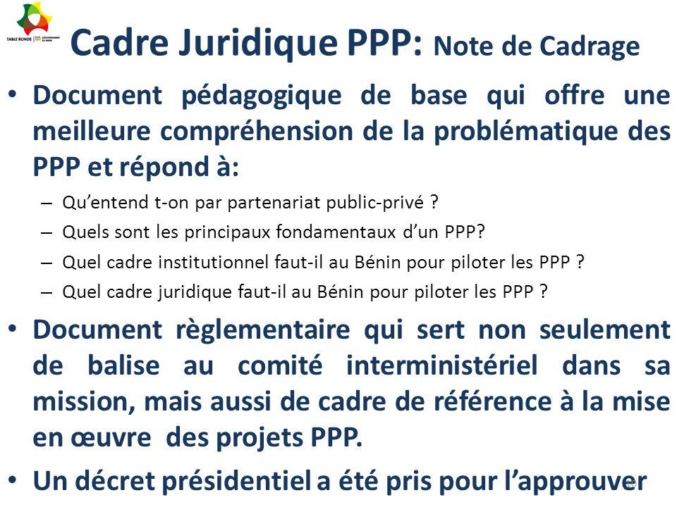 Cadre Juridique PPP: Note de Cadrage