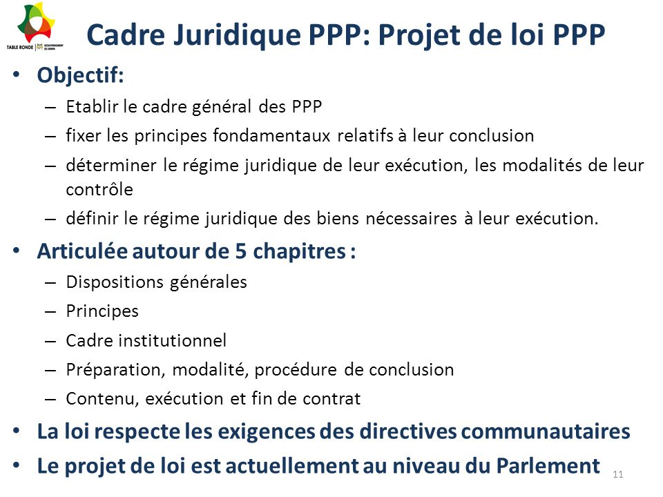 Cadre Juridique PPP: Projet de loi PPP