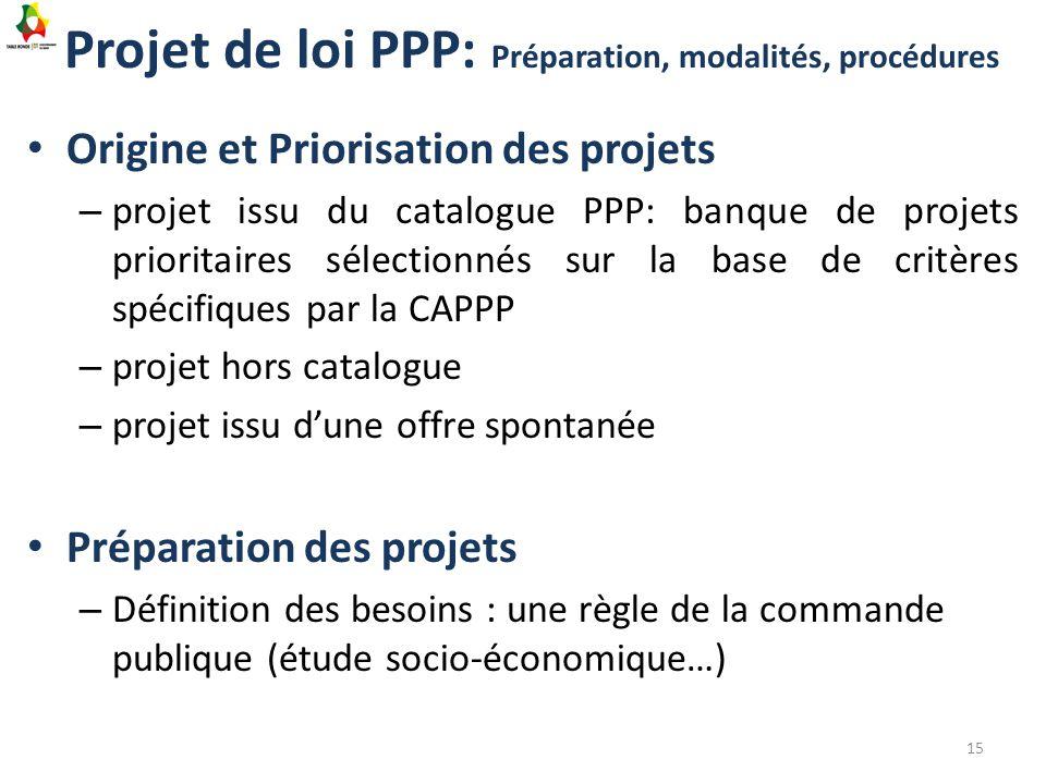 Projet de loi PPP: Préparation, modalités, procédures