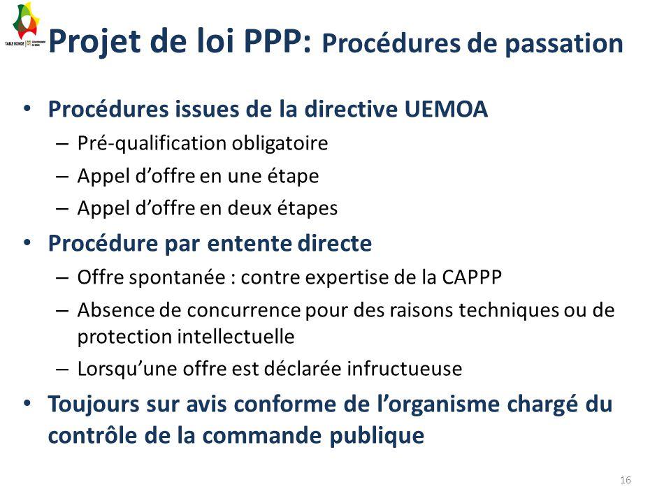Projet de loi PPP: Procédures de passation