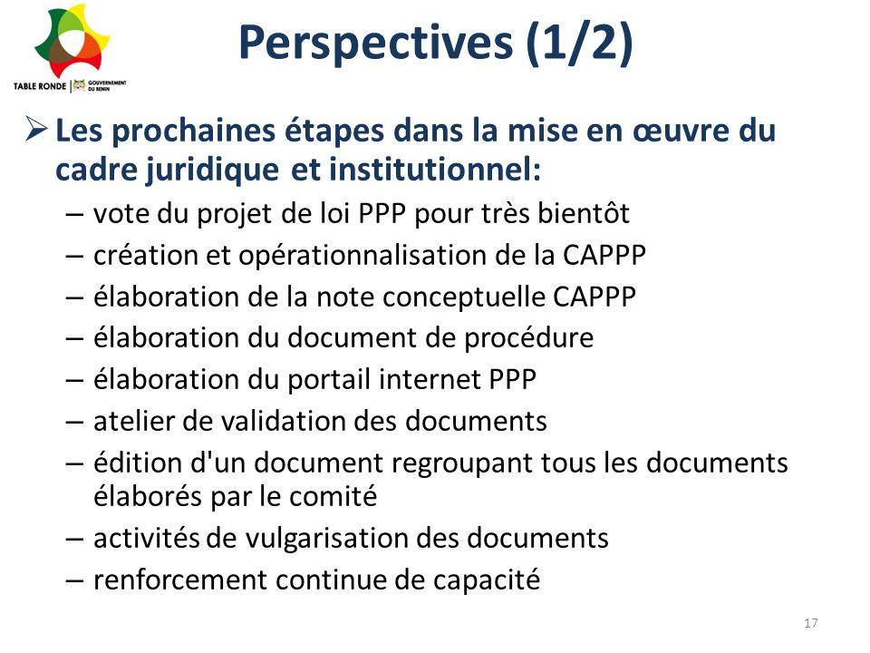 Perspectives (1/2) Les prochaines étapes dans la mise en œuvre du cadre juridique et institutionnel: