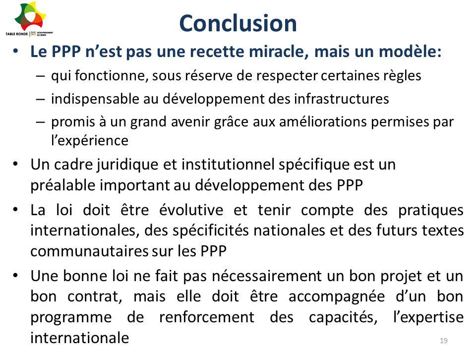 Conclusion Le PPP n'est pas une recette miracle, mais un modèle: