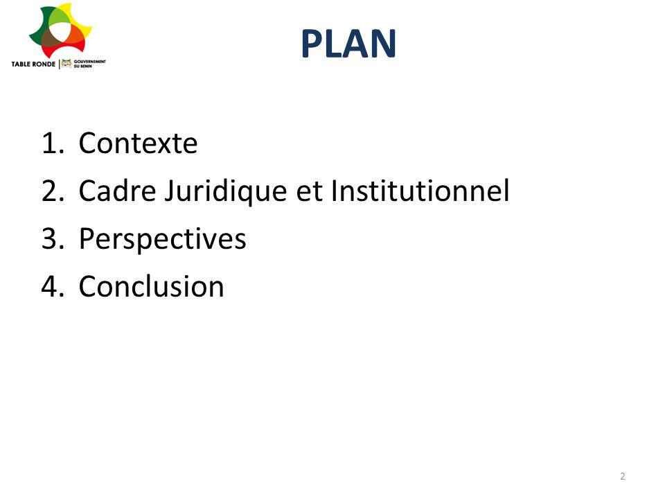 PLAN Contexte Cadre Juridique et Institutionnel Perspectives