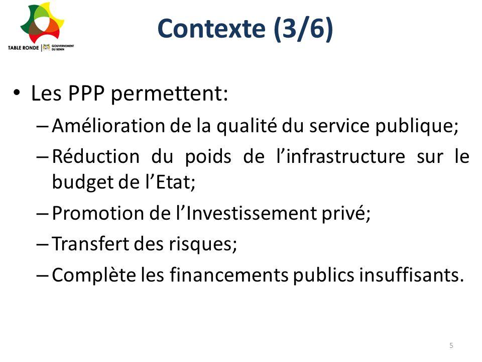 Contexte (3/6) Les PPP permettent: