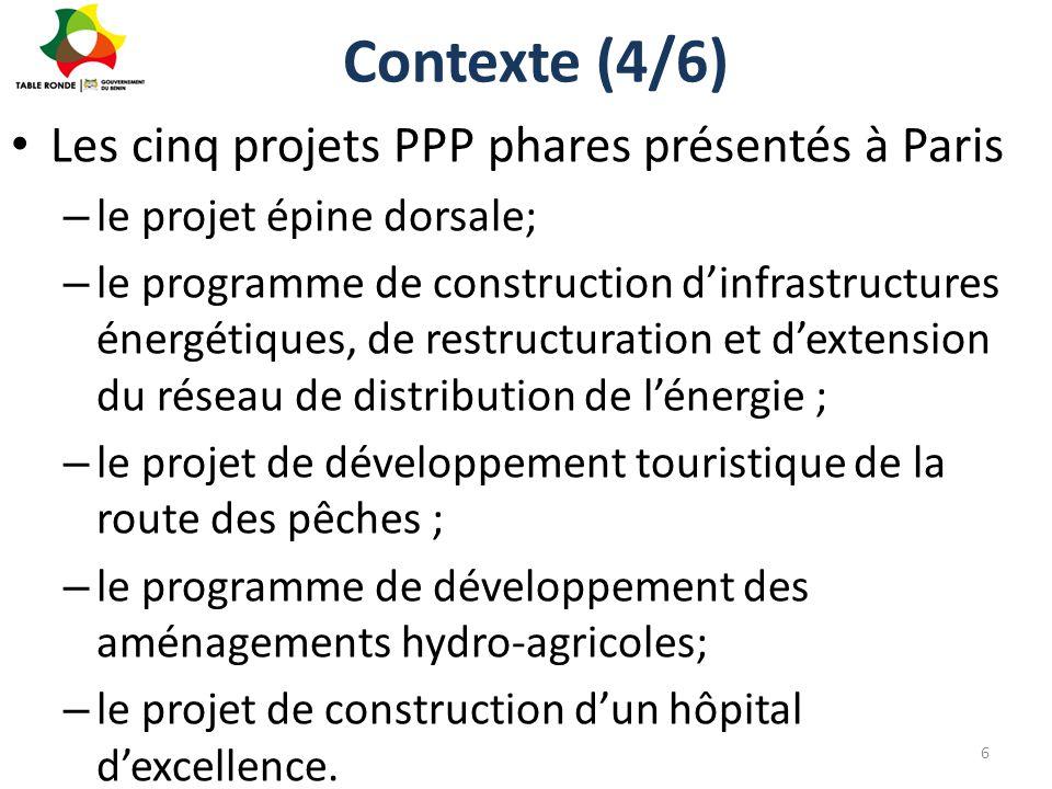 Contexte (4/6) Les cinq projets PPP phares présentés à Paris