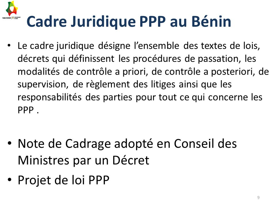Cadre Juridique PPP au Bénin