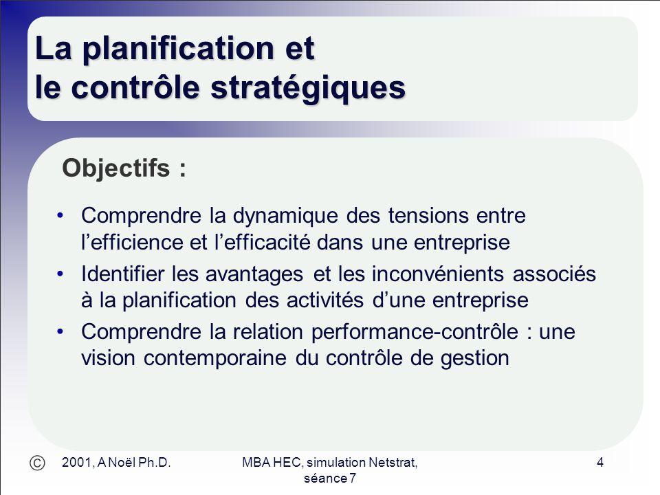 La planification et le contrôle stratégiques