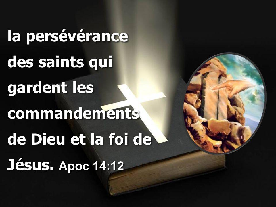 la persévérance des saints qui gardent les commandements de Dieu et la foi de Jésus. Apoc 14:12