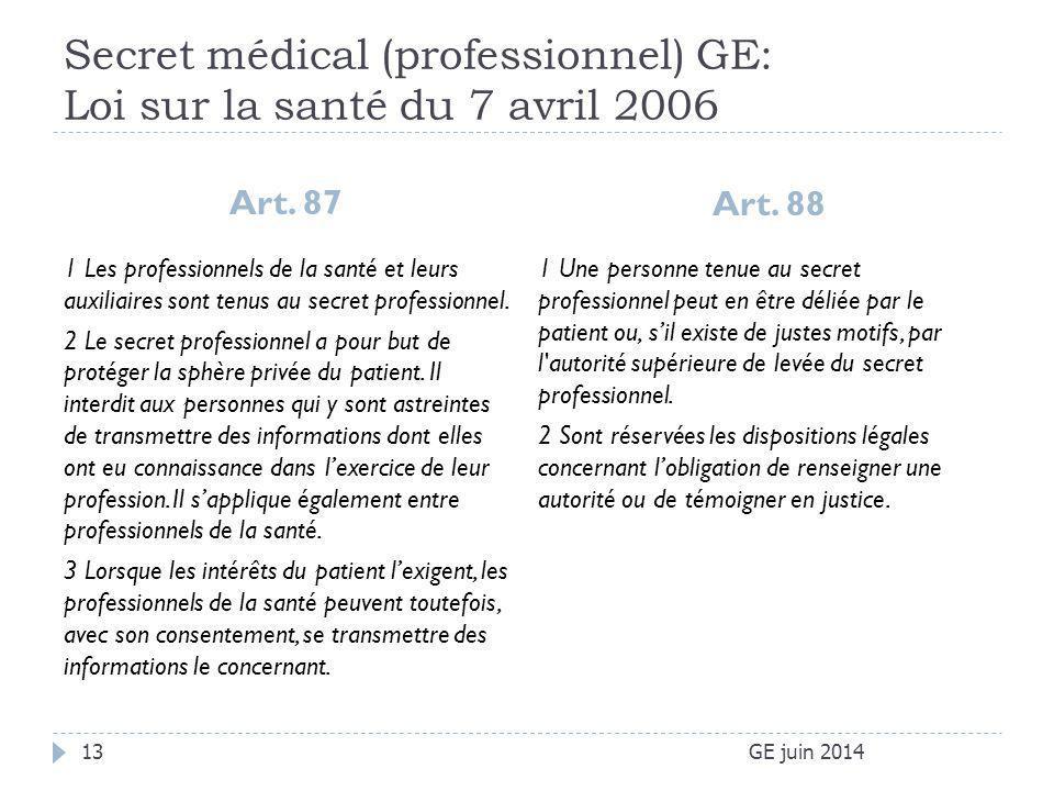 Secret médical (professionnel) GE: Loi sur la santé du 7 avril 2006