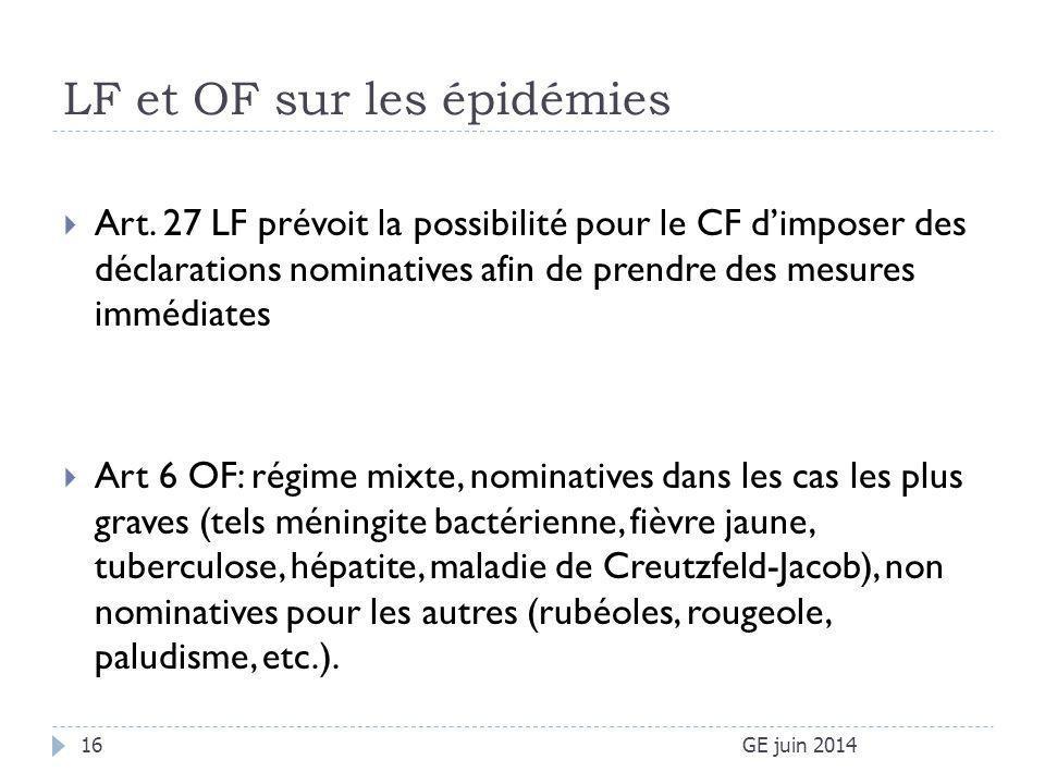LF et OF sur les épidémies