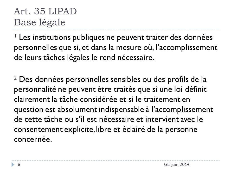 Art. 35 LIPAD Base légale