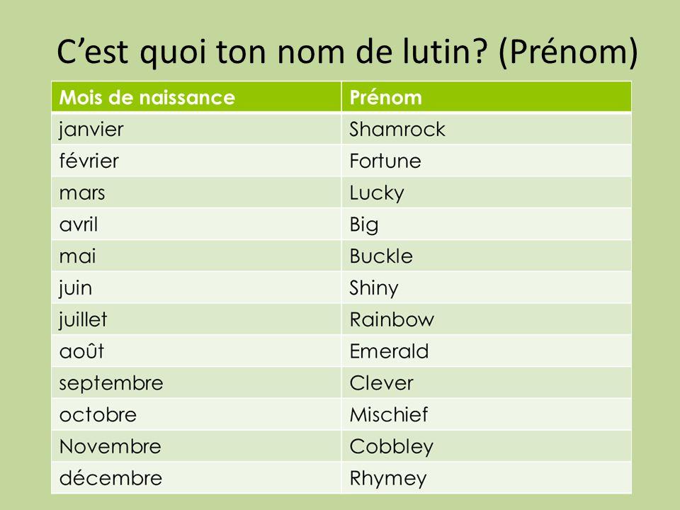 C'est quoi ton nom de lutin (Prénom)
