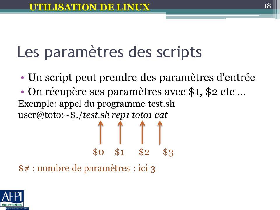 Les paramètres des scripts