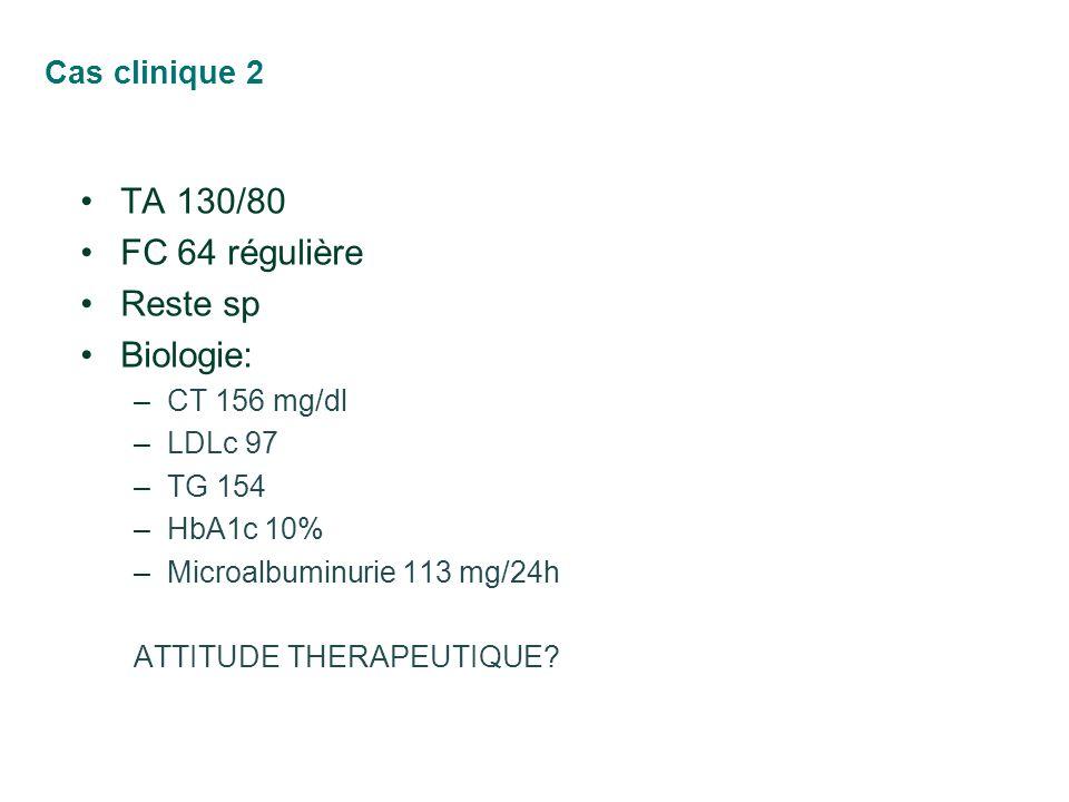 TA 130/80 FC 64 régulière Reste sp Biologie: Cas clinique 2